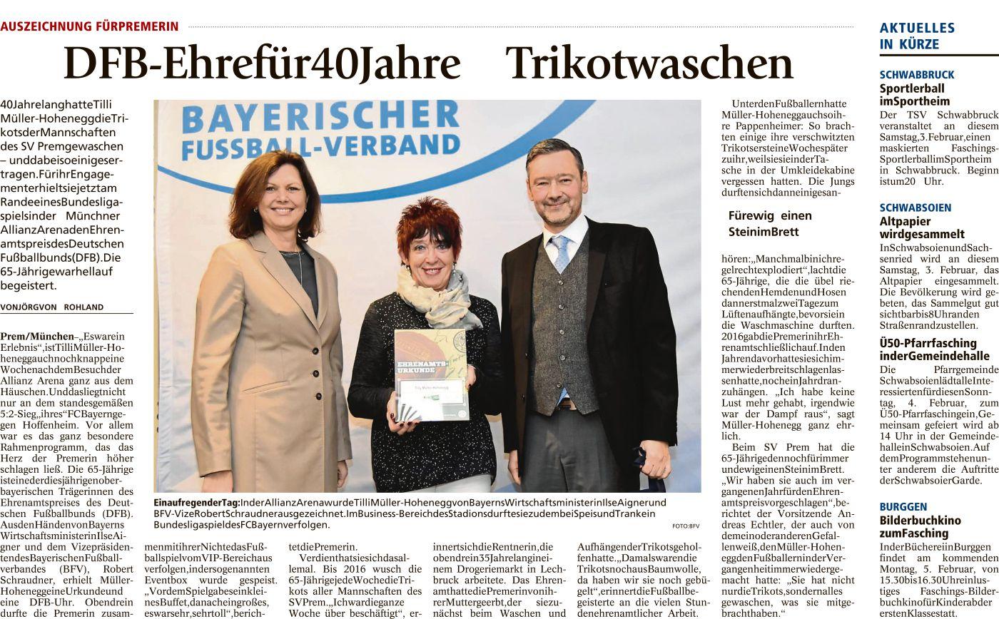 DFB-Ehre für 40 Jahre Trikot waschen
