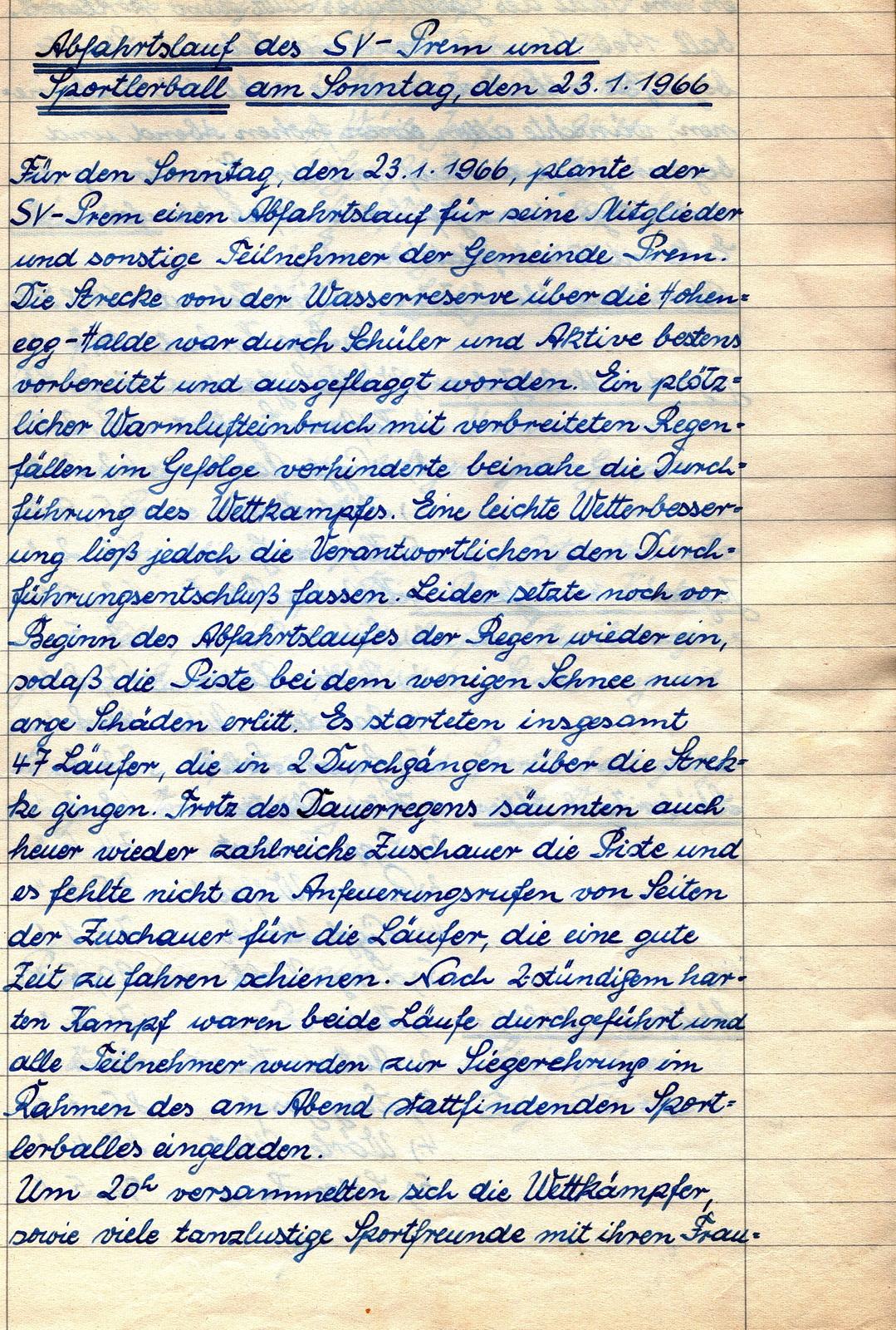 Abfahrtslauf SV Prem und Sportlerball am Sonntag, den 23.01.1966