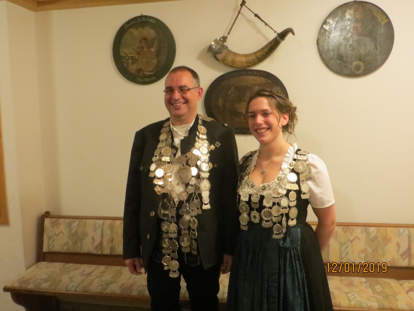 Schützenkönig 2019 Roland Franke und Jugendkönigin 2019 Marina Niggl