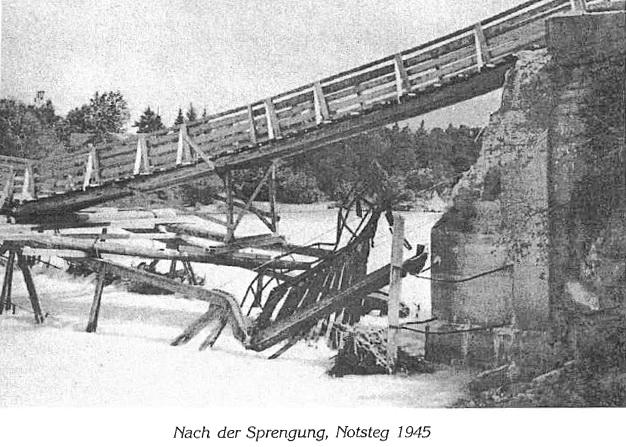 Sprenung der Lechbrücke 1945