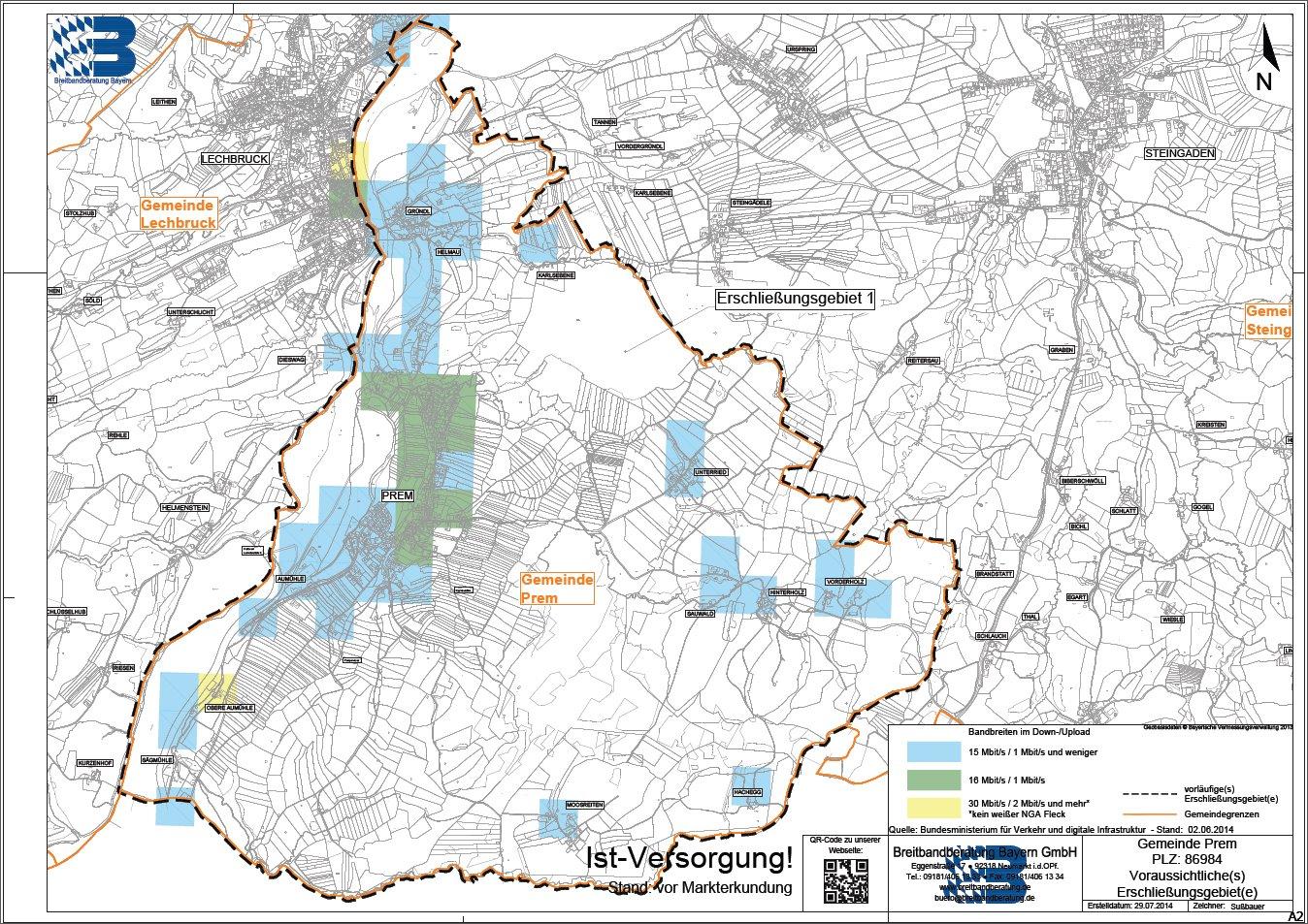 Karte des vorläufigen Erschließungsgebietes mit Ist-Versorgung vor der Markterkundung.