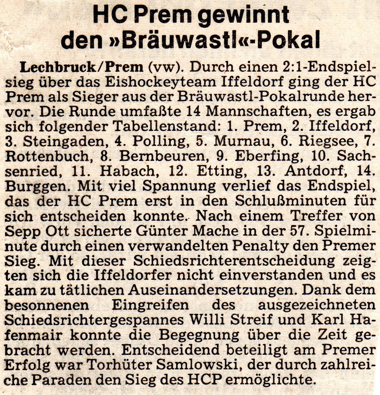 SV Prem - Sparte Eishockey